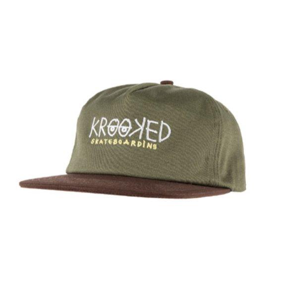 f237ba25 KROOKED – EYES HAT – Brown/Olive – Al Carrer Skate Shop